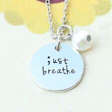 *UK* 925 SILVER PLT 'JUST BREATHE' ; SEMICOLON PROJECT ENGRAVED NECKLACE GIFT 18