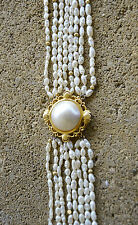 "Vintage RICE PEARL 8 strand Torsade Twisted CHOKER Necklace 14k 22.5"" long"
