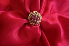 NEW 1989 FABERGE 18K GOLD RING 32 RUBIES 6 DIAMONDS SIZE 6  NEW LOW PRICE