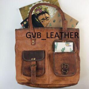 "16"" Women Vintage Huge Genuine Brown Leather Tote Shoulder Bag Handmade Purse"