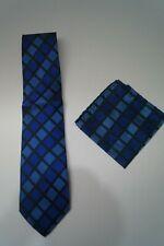 PAUL MALONE / NEU  Seiden Krawatte + Einstecktuch, blau  (1287 719)