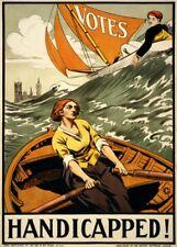 """Vintage Suffragette Propaganda """"VOTES: HANDICAPPED!"""" 250gsm A3 Poster"""