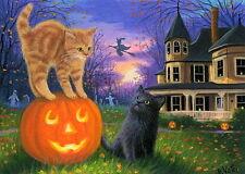 Kittens cat jack o lantern haunted house Halloween witch moon OE aceo print art
