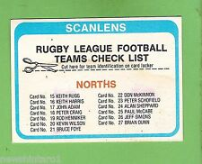 1979  NORTH  SYDNEY  BEARS   RUGBY LEAGUE  CHECKLIST CARD, CHECKED