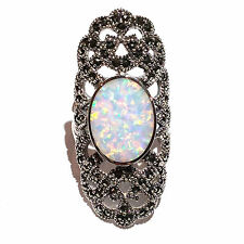 ART DECO STYLE WHITE GILSON OPAL AND MARCASITE RING 925 STERLING SILVER - SIZE 9