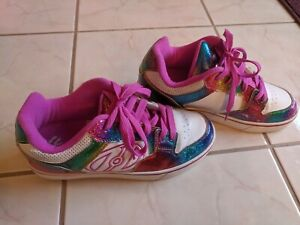 Heelys Girls Glittery Rainbow Shoes with Roller Skate Bottoms Size 7 US