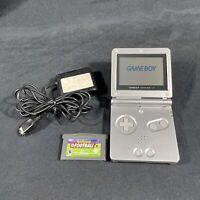 Nintendo Game Boy Advance SP Silver/Platinum Handheld System/Charger/Game!!
