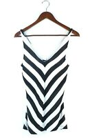 Bebe Womens Size XS Black White Tank Top Sleeveless Jersey Striped Pullover Tee