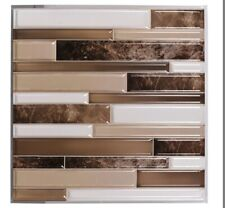 Lot of 5 Sheets Hardware Self Adhesive Tan, Brown and White Wall Tile, 12x12 in.