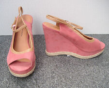 M&S Limited Collection Dusky Pink Faux Suede Wedge Sandals Size 6/39.5