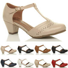 WOMENS LADIES MID BLOCK HEEL T-BAR CUT OUT BROGUE COURT SHOES SANDALS SIZE