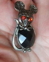Vintage Silver tone Faux Ruby Faceted Cabochon Red Rhinestone Mouse Pin Brooch