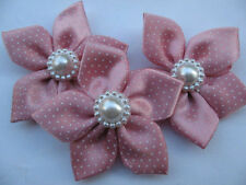 """20 Polka Dots 2.25"""" Satin Ribbon Flower w/Pearl Appliques-Dumb Pink RF077"""