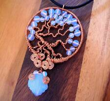 PENDANT NECKLACE, TREE OF LIFE, COPPER, OPALITE  BEADS & LEAF PENDANT - TOL5