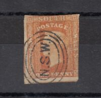 New South Wales QV 1856 1d Orange Imperf New South Wales CDS FU SG107 JK590