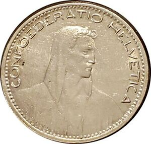 1923 SWITZERLAND SILVER 5 FRANC ~ WILLIAM TELL ~ KM-37 ~ NICE ABOUT UNCIRCULATED