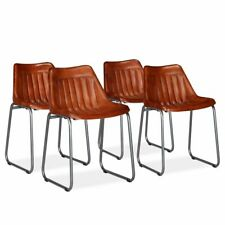 vidaXL 4x Dining Chairs Genuine Leather with Stripes Brown Kitchen Furniture