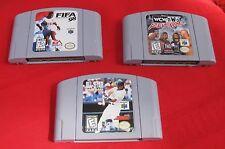3 Lot Vintage Nintendo 64 All Star Baseball 99 FIFA 98 WCC n Wo Revenge Games ✞
