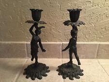 Vintage Pair Figural Cast Iron Statue Art J M 77 Candle Holder Candlesticks