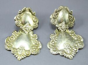 VTG STERLING SILVER Art Nouveau STAMPED LUGGAGE TAG DANGLE EARRINGS Angel Face