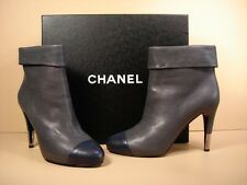 CHANEL GREY LEATHER BLUE CAP TOE BOOTIE HIDDEN PLATFORM ANKLE BOOTS 38/8 NEW