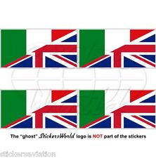 Italy-united Reino Bandera, italian-uk British Union Jack 50mm Stickers Calcomanías X4