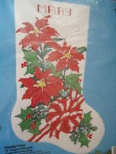 Christmas Bucilla Holiday Stamped Cross Stocking KIT,POINSETTIAS,Flower,83135