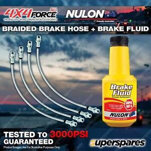 4 F+R Braided Brake Hoses + Nulon Fluid for Mitsubishi Triton ML MN 06-on