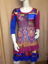 Damen Kleid Tunika bunt gemustert rot blau 3/4 Arm Gr. 42 von My Design Paris