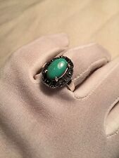 925 Sterling Silver Size 7 Ring Vintage Genuine Turquoise Swiss Cut Marcasite