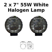 "2 X 7"" CHROME CAR VAN ROUND DRIVING HALOGEN SPOT LAMPS LIGHTS GRILLS 4X4 - 8 NEW"