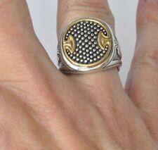 Konstantino Men's Oval Spear Ring Sz 10 Sterling Silver 18K Gold  Achilles New