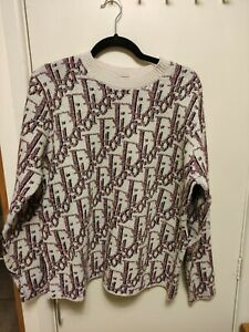 Dior All-Over Dior Oblique Jacquard Wool Sweater Red Size: M