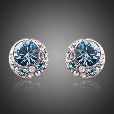 New Sparkly Shiny Blue Austrian Crystal Rhinestone Round Stud Earrings Jewellery