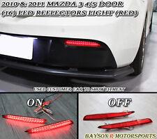Rear Bumper Reflector Lights (Red LEDs) Fits 10-12 Mazda 3