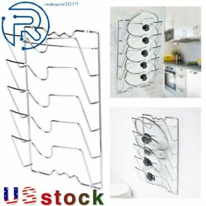 Pan Lid Storage Rack Wall Mount Pot Cover Organizer Kitchen Cabinet Door Holder