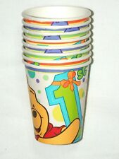 WINNIE THE POOH FIRST BIRTHDAY -   8- PAPER CUPS 9 FL. OZ.-  PARTY SUPPLIES