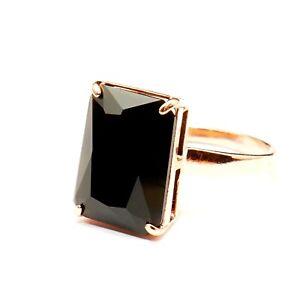 Baguette Cut Jet Black Jewelry Glass Ring 14k Rose Gold Filled 8P