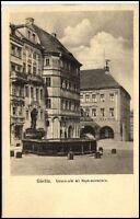 GÖRLITZ Sachsen um 1915/16 AK Gasthof Zum Braunen Hirsch am Untermarkt Brunnen