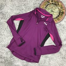 Womens FILA Athletic Running Purple  Long Sleeve Shirt Sz XS Thumb Holes