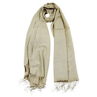Plain Beige Brown Soft Lightweight Rectangle Women's Hijab Scarf with Tassles