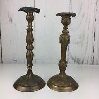Vintage Pair of Large Brass Candlestick Holders Floral Ornate Patina India Felt