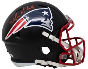 Willie McGinest Signed Patriots Full Size Matte Black Spd Replica Helmet BAS ITP