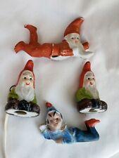 Vintage Lot of 4 Japan Elf Gnome Pixie Elves ceramic bisque figurines miniature