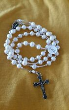Cultured Pearl Rosary / Sterling Silver  Stamped  925