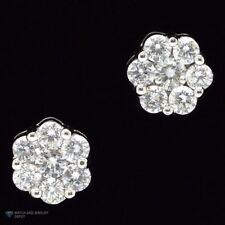 1Ct Natural Diamond Flower Shaped Halo Cluster Stud Earrings 14K White Gold 7mm