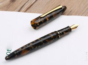 Moonman M100 Acrylic Fountain Pen, SCHMIDT Fine Nib with Pen Pouch ( Brown )