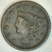 1838 Coronet Head US Large Cent Copper Coin VF Very Fine Grade 1c US Penny Coin