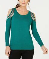 THALIA SODI Embellished Coldshoulder Smock Sweater Dark Green S