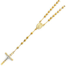 14K Solid Real Yellow Gold 4mm  Ball Rosary Necklace 20'' For Women
